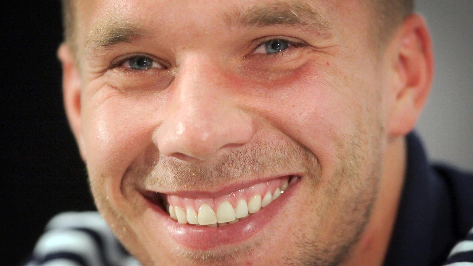 Lukas Podolski war trotz Abschieds beim DFB guter Laune