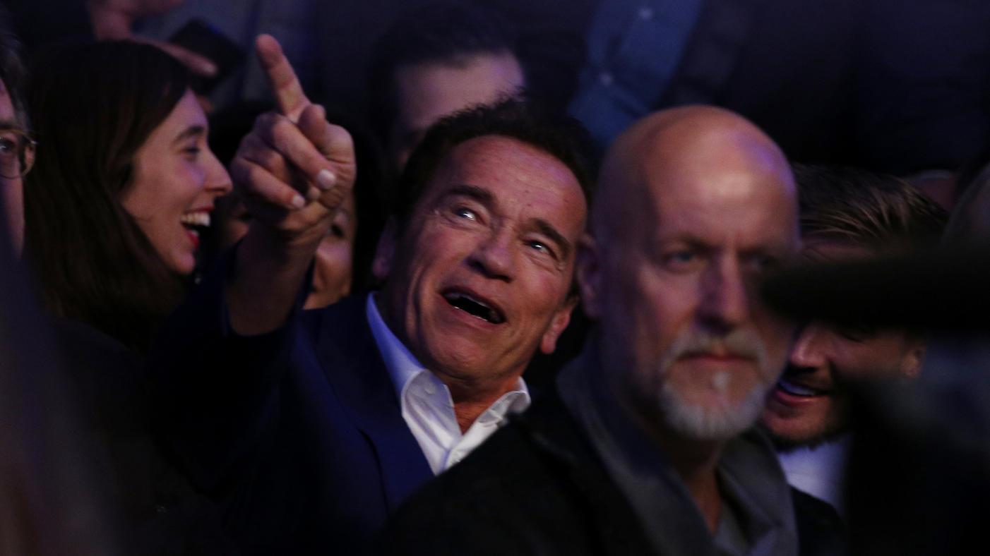 Der Ex-Terminator Arnold Schwarzenegger hatte während des Kampfes seinen Spaß