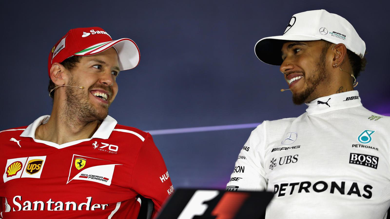 Schätzen sich als Rivalen auf der Strecke: Sebastian Vettel und Lewis Hamilton.