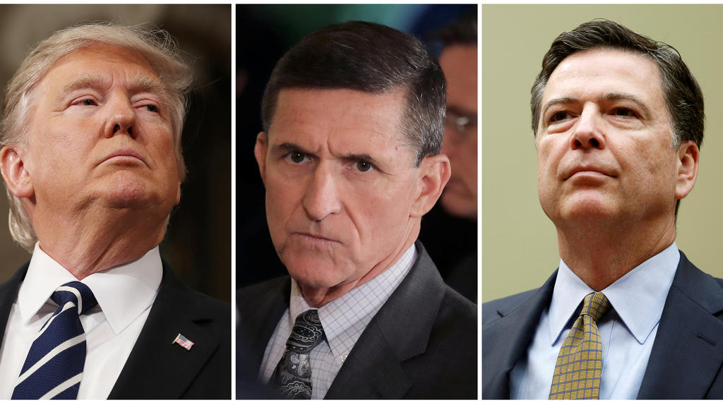 FILE PHOTO: A combination photo shows U.S. President Donald Trump (L), on February 28, 2017, White House National Security Advisor Michael Flynn (C), February 13, 2017 and FBI Director James Comey in Washington U.S. on July 7, 2016.   REUTERS/Jim Lo