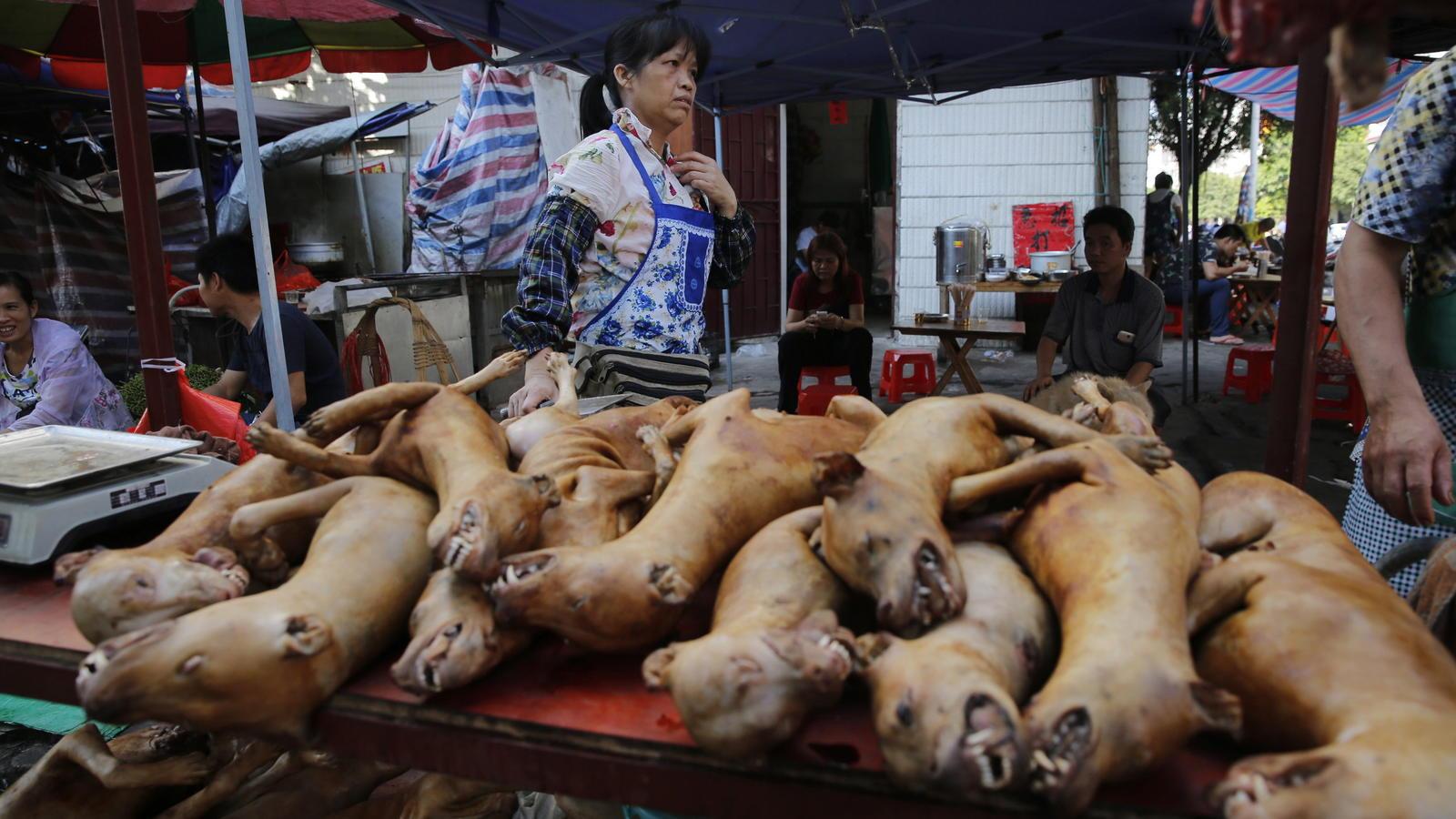 Stand verkauft Hundefleisch in China.