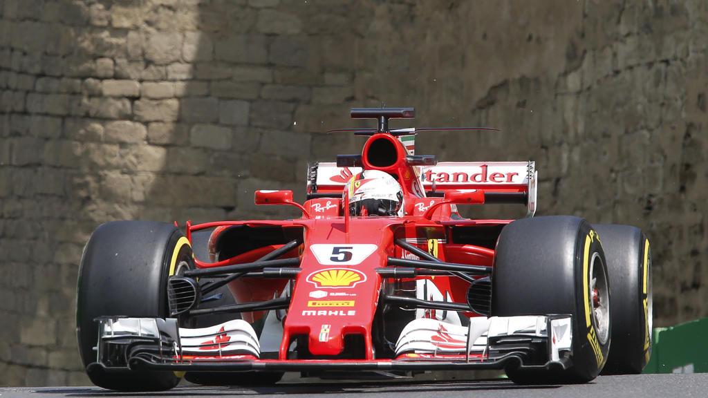 Motorsport: Formel-1-Weltmeisterschaft, Grand Prix von Europa, 1. Freies Training am 23.06.2017 in Baku (Aserbaidschan). Der Deutsche Sebastian Vettel vom Team Scuderia Ferrari auf der Strecke. Foto: Darko Bandic/AP/dpa +++(c) dpa - Bildfunk+++