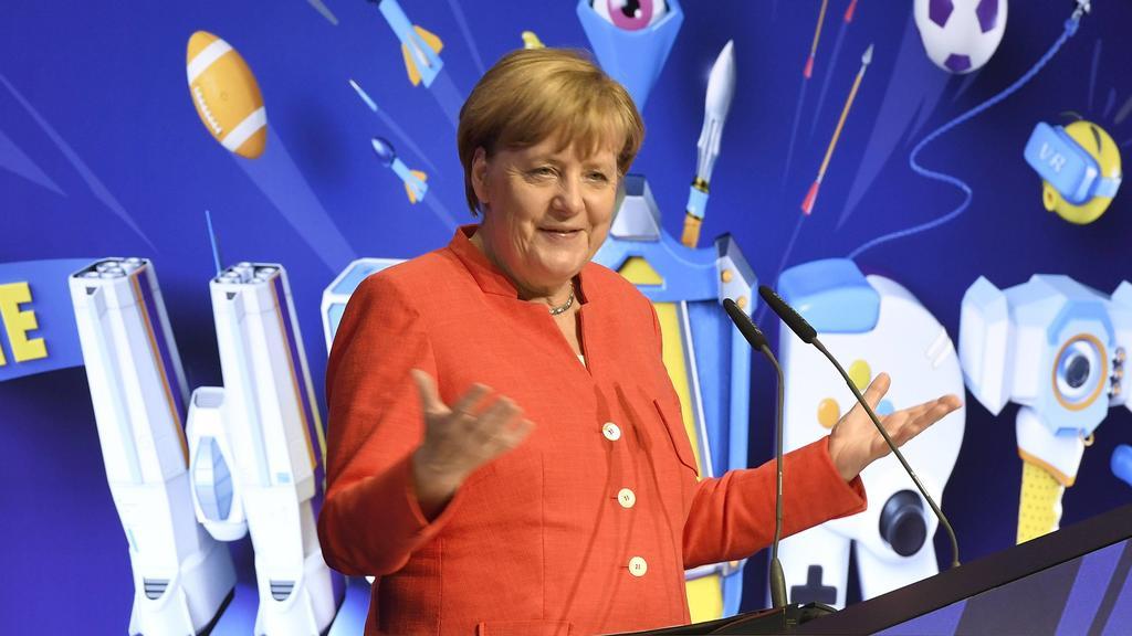 Angela Merkel bei der Eröffnung der weltgrößten Computerspielmesse Gamescom 2017
