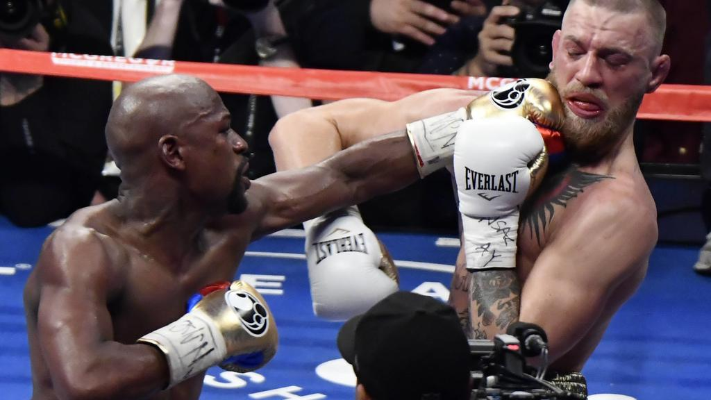 Aug 26,2017. Las Vegas NV. ( IN blk-gld trunks) Floyd Mayweather Jr.goes 10 rounds with Conor McGregor Saturday at the T-Mobile arena in Las Vegas. Floyd Mayweather Jr. took the win by TKO as the fight was stop in the 10th round. This was Floyd s las