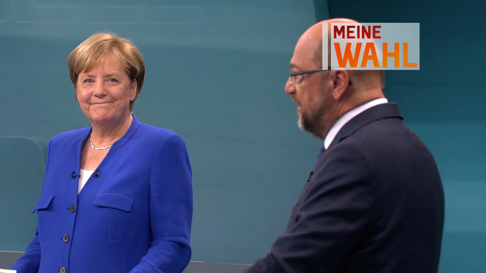 Angela Merkel und Marin Schulz trafen beim TV-Duell erstmals direkt aufeinander.