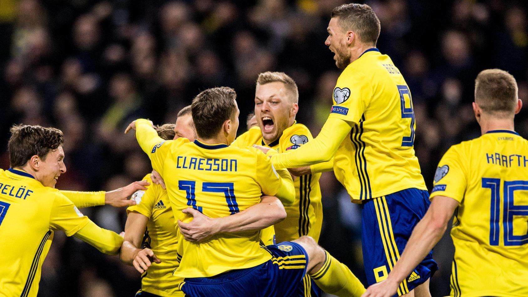 Jubel in Schweden: Das 'Drei-Kronen-Team' bezwang Italien im Playoff-Hinspiel für die WM mit 1:0.