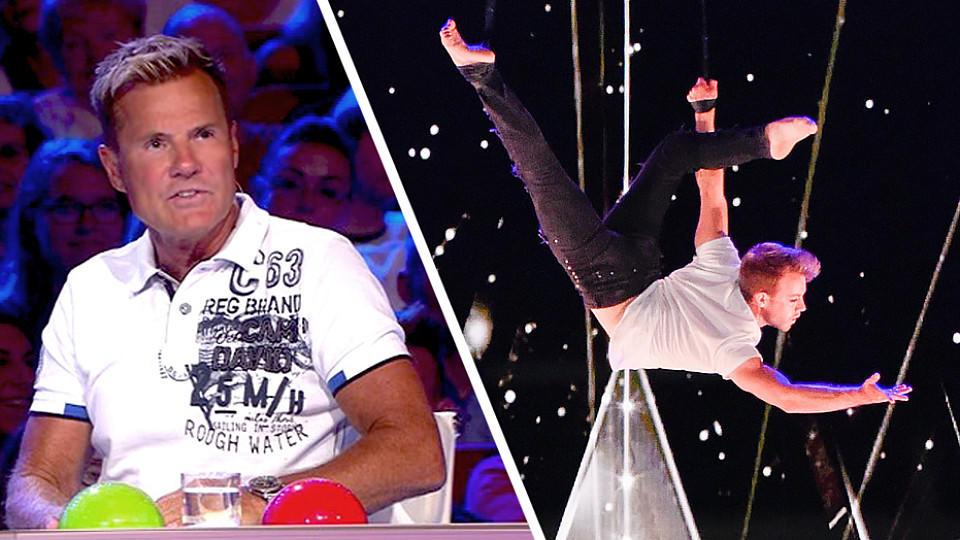 Das Supertalent 2017: Jason Brüggers Luftakrobatik-Nummer bringt ihm den Respekt der Jury ein.