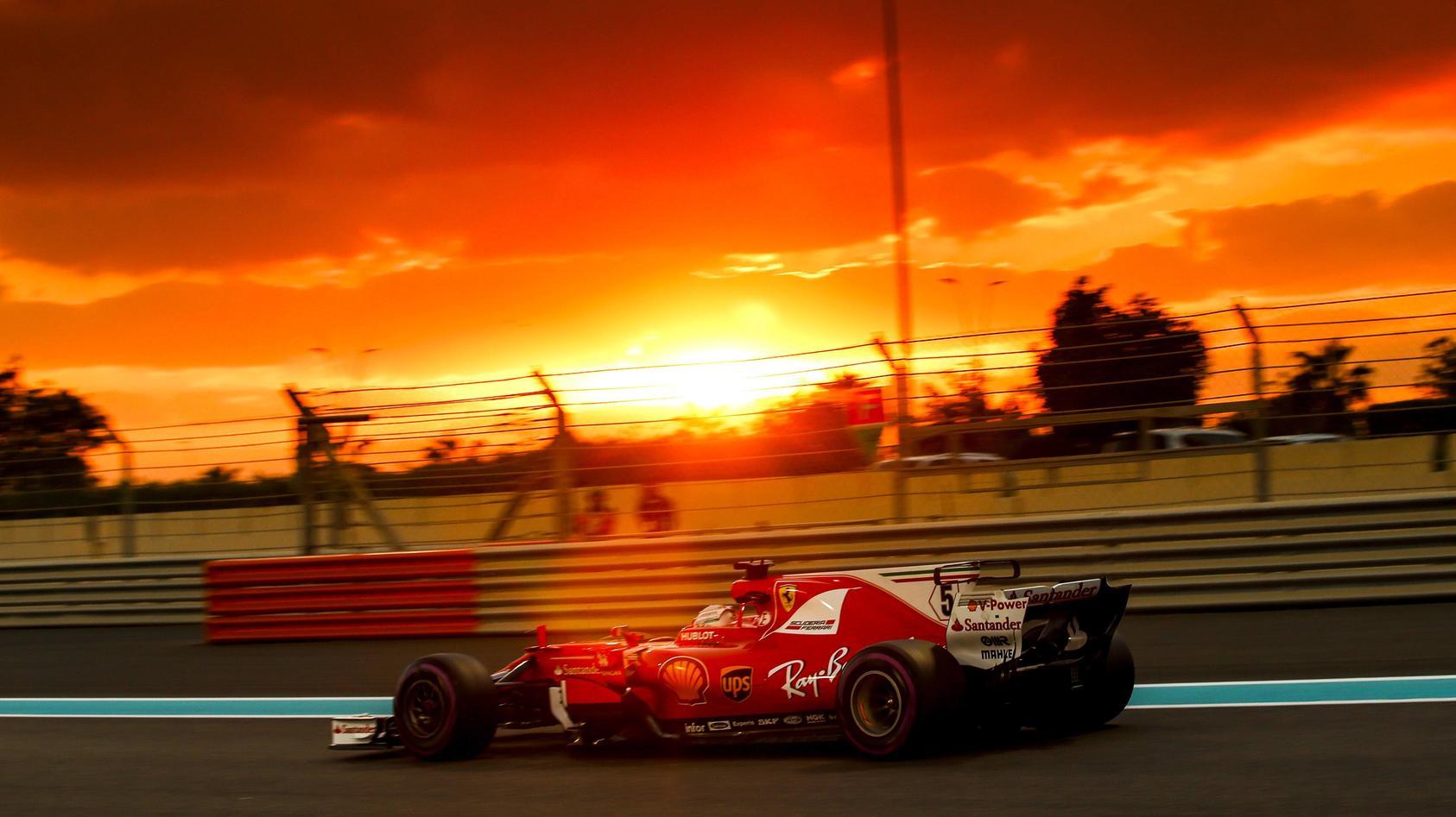 Nach den Reifen-Tests in Abu Dhabi musste  Sebastian Vettel von seinem 2017er Ferrari Abschied nehmen