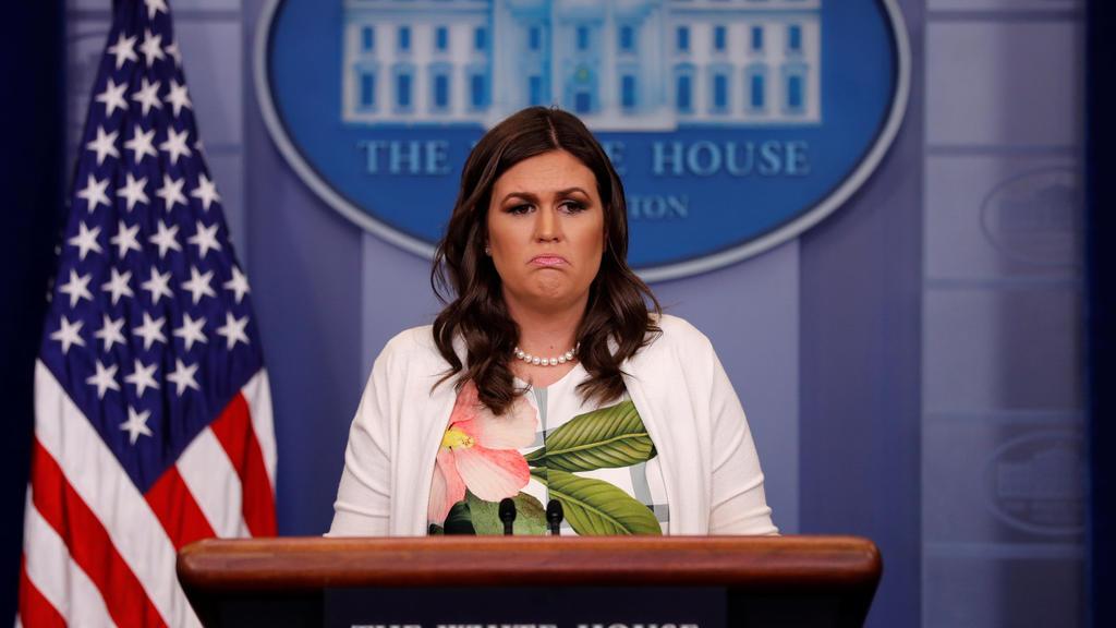 White House Press Secretary Sarah Huckabee Sanders at the White House in Washington, U.S. November 27, 2017. REUTERS/Jonathan Ernst