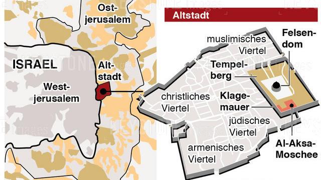 GRAFIK --- Karte mit israelischen und palaestinensichen Siedlungen (90 x 82mm, hoch) vom Mittwoch, 06. Dezember 2017 (KEYSTONE/Gerhard Riezler) |