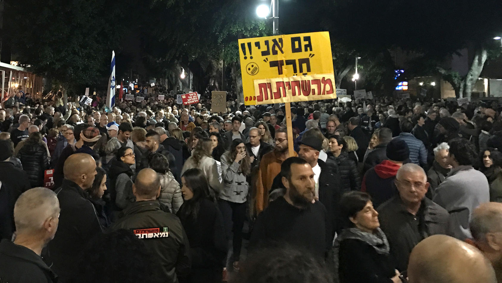 Demonstranten beim 'Marsch der Schande' in Tel Aviv.