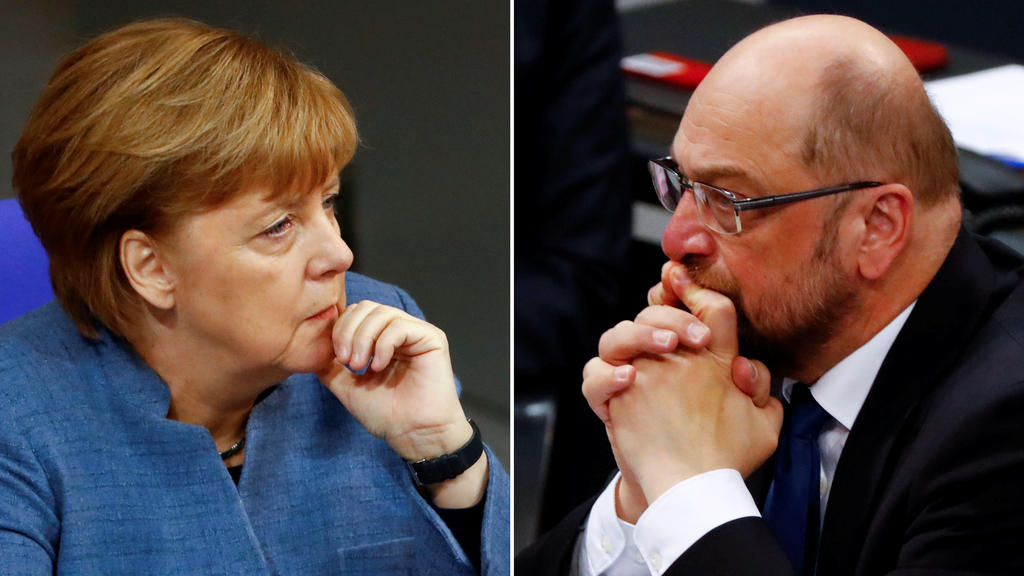 A combination of two photos show German Chancellor Angela Merkel and Social Democratic Party (SPD) leader Martin Schulz as they attend a debate of the lower house of parliament Bundestag in Berlin, Germany, December 12, 2017. REUTERS/Fabrizio Bensch