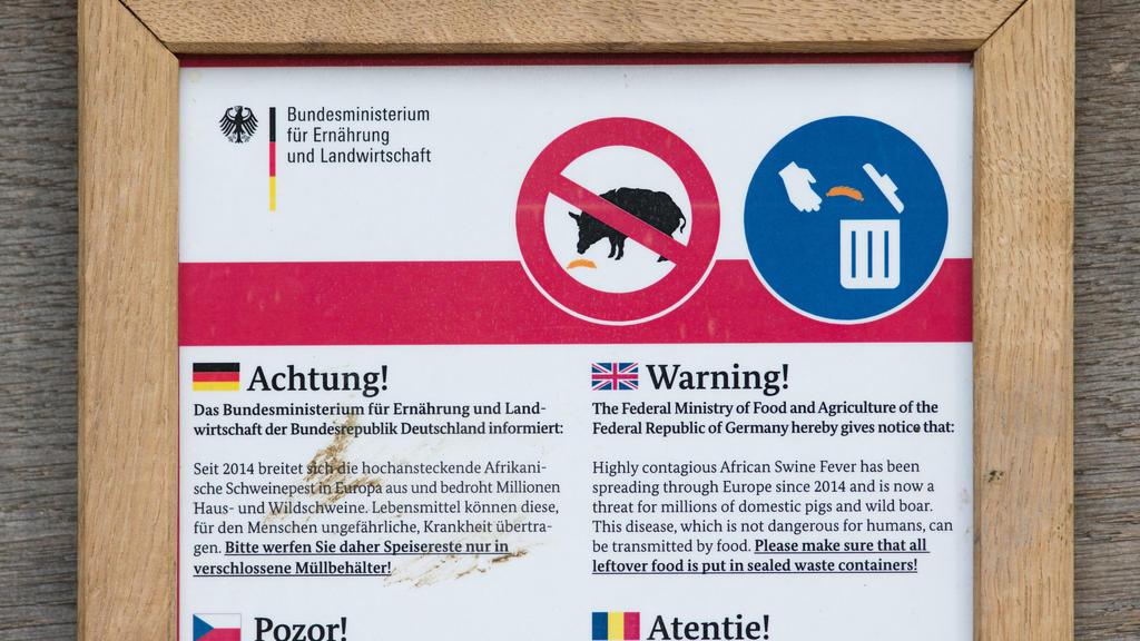 Ein Hinweisschild warnt am vor einem Gehege vom Heimat-Tierpark Olderdissen in Bielefeld