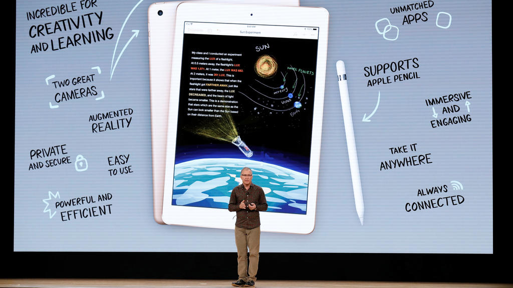 Apple's Vice-President of iOS, iPad and iPhone Product Marketing, Greg Joswiak, speaks at an education-focused event at Lane Technical College Prep High School in Chicago, Illinois, U.S., March 27, 2018. REUTERS/John Gress