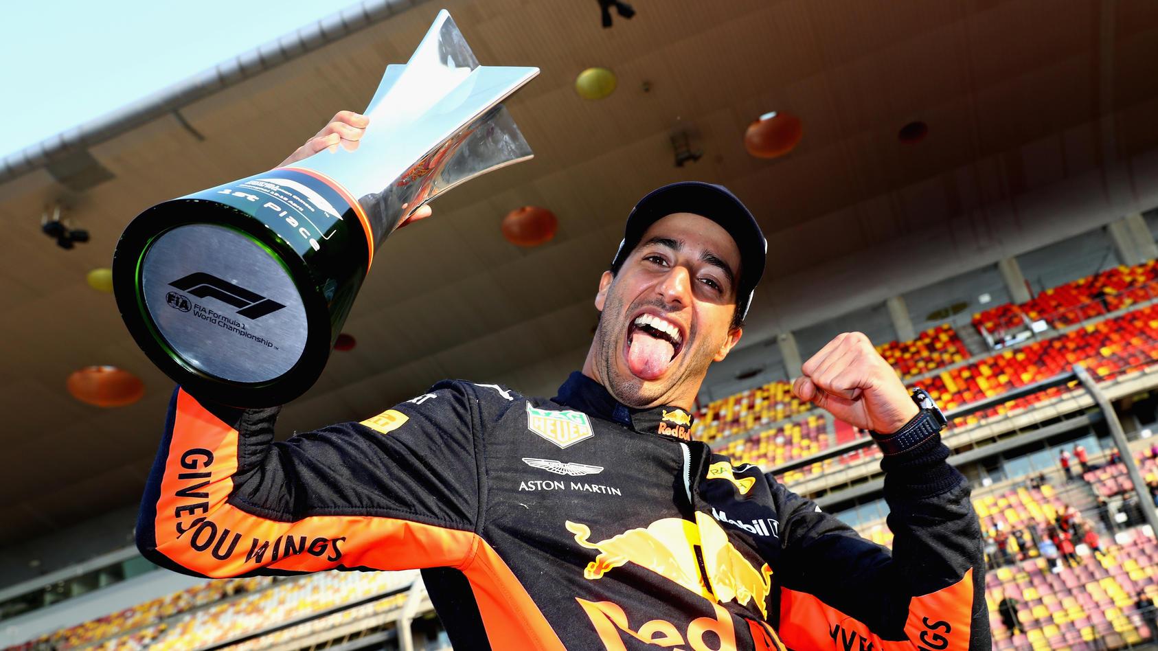 Von sechs auf eins: Daniel Ricciardo feiert in Shanghai seinen sechsten Grand-Prix-Sieg