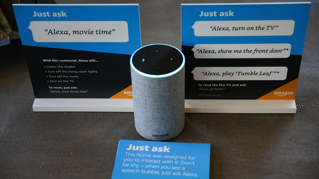 Prompts on how to use Amazon's Alexa personal assistant are seen alongside an Amazon Echo in an Amazon 'experience center'  in Vallejo, California, U.S., May 8, 2018. Picture taken on May 8, 2018. REUTERS/Elijah Nouvelage